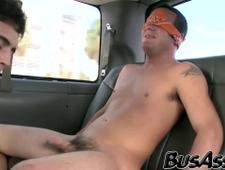 Gorgeous gay stud fucked during a ride in the trick bus