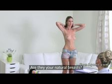 Lesbians oral sex casting POV on couch