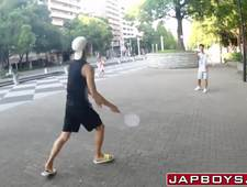 Badminton playing Asian twink bounces on cock after blowjob