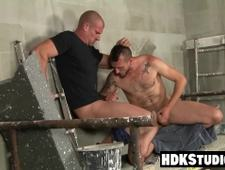 Hairy homo sucks cock and takes it in the ass bareback style
