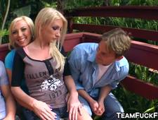 Naughty blonde trio riding group cock in garden