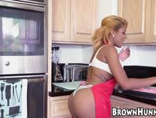Exotic busty Zoey Reyes has young pussy banged in kitchen