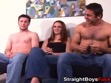 Slut vigorously fucked by two handsome straight guys