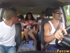 Beautiful shemale picked up for hot gangbang session